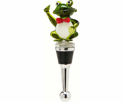 COLLECTIBLE BLOWN GLASS CREATURES  BOTTLE STOPPER - Frog Red Tie  BS509