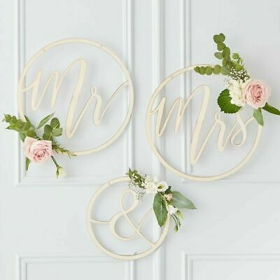 Mr & Mrs Wooden Wedding Hoops - Personalise with your own Flowers and Foliage!
