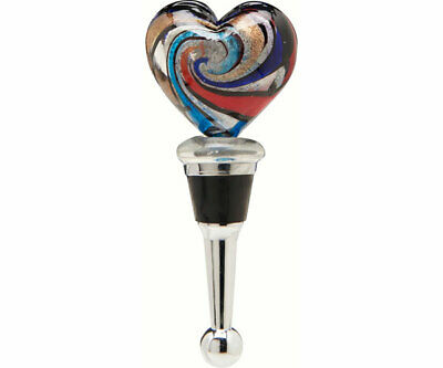COLLECTIBLE BLOWN GLASS CREATURES  BOTTLE STOPPER - Heart - BS514