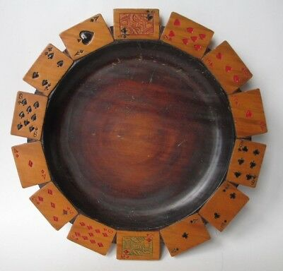 ANRI playing cards BLACK FOREST carved ? Wooden Dish CASINO tip tray ADIRONDACK