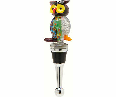 COLLECTIBLE BLOWN GLASS CREATURES  BOTTLE STOPPER - Owl- BS515