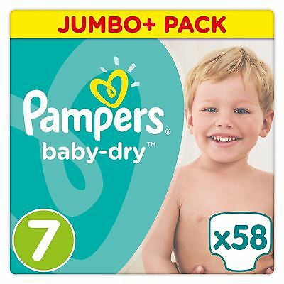 58 x Pampers Baby-Dry Size 7 Nappies Jumbo+ Value Pack with 3 Absorbing Channels