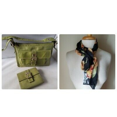 Perlina Women s Purse Hand Bag Matching Wallet Set Green Silver + Floral  Scarf 95c7019a1671c