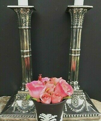 Antique English Silver Plate Candlesticks