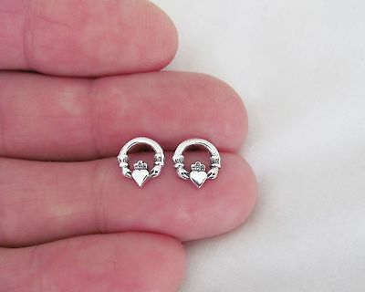 Sterling Silver 9mm Irish Celtic Claddagh love post stud earrings.