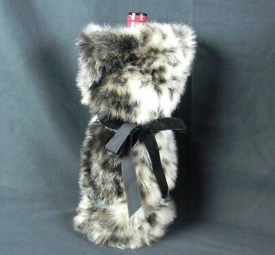 Faux Fur Wine Bottle Cinch Sack Gift Bag INC Brown White Or Leopard Style Bow