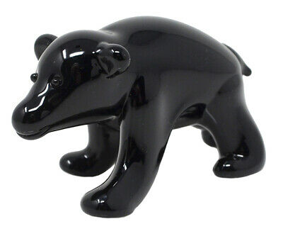 Collectible Blown Glass Creatures And Animals - Black Bear - Ma103