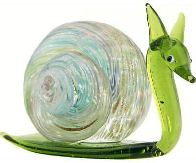 COLLECTIBLE BLOWN GLASS CREATURES AND ANIMALS -Milano Snail (Green) - MA094