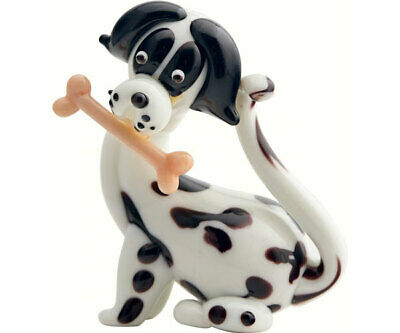 COLLECTIBLE BLOWN GLASS CREATURES AND ANIMALS - Dog with Bone - MA091