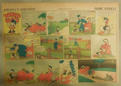 Donald Duck Sunday Page by Walt Disney from 6/29/1941 Half Page Size