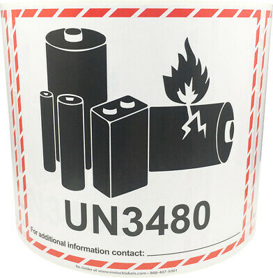 UN3480 Lithium Ion Battery Shipping Labels, 4.5 x 5 Inches, 500 Labels Total