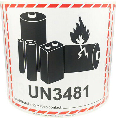 UN3481 Lithium Ion Battery Shipping Labels, 4.5 x 5 Inches, 500 Labels Total