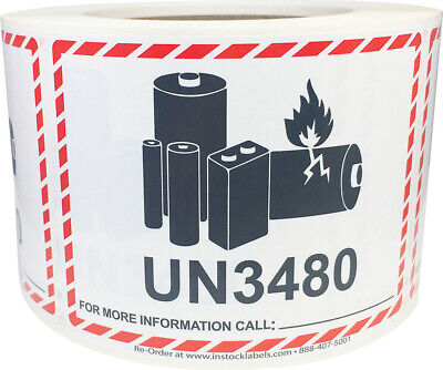 Lithium Battery UN3480 Shipping Labels, 3.25 x 4.25 Inches, 500 Labels on a Roll