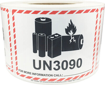 Lithium Battery UN3090 Shipping Labels, 3.25 x 4.25 Inches, 500 Labels on a Roll