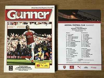 Arsenal v Bournemouth Programme And Team Sheet 27th February 2019