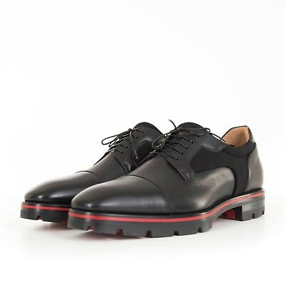 fbafbc4da17 CHRISTIAN LOUBOUTIN Black Calf Leather Greggo Flat Derby Shoes SIZE ...
