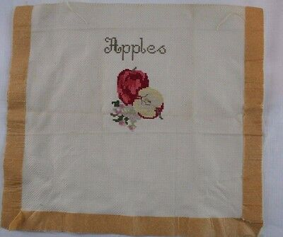 Apples Counted Cross Stitch Completed Unframed Vintage Off White/Beigy Fabric