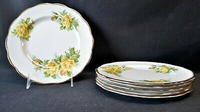 Royal Albert England Bone China Tea Rose Yellow Set of 6 Salad Plates