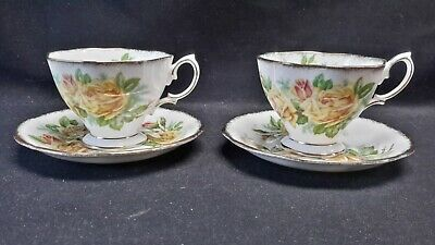 Royal Albert England Bone China Tea Rose Yellow Pair of Cups & Saucers
