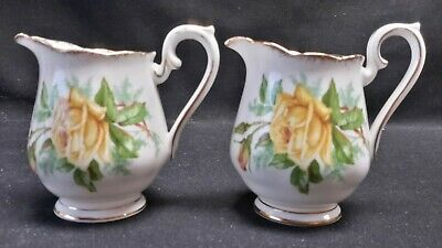 Royal Albert England Bone China Tea Rose Yellow Pair of Mini Creamers