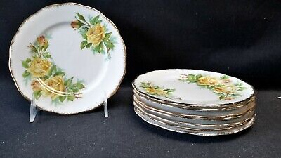 Royal Albert England Tea Rose Yellow Set of 8 Bread & Butter Plates (Faults)