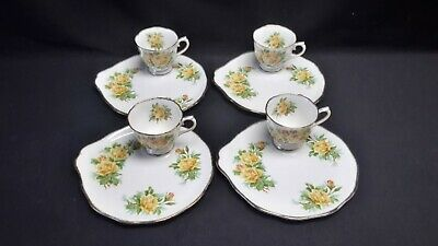 Royal Albert England Bone China Tea Rose Yellow Set of 4 Snack Plate & Cup Sets