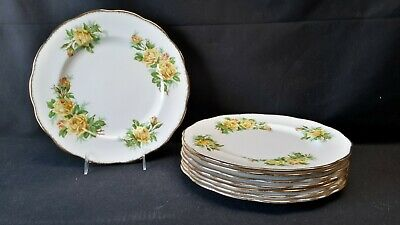 Royal Albert England Bone China Tea Rose Yellow Set of 8 Dinner Plates