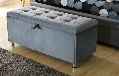 Pleasant Grey Brushed Velvet Ottoman Storage Chest Blanket Box Luxury Ncnpc Chair Design For Home Ncnpcorg