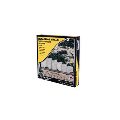 Concrete Wing Wall HO Scale Concrete Retaining Walls, from Woodland Scenics. (3p