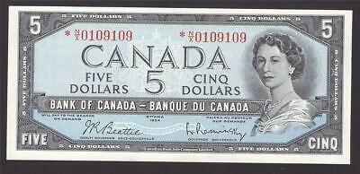 1954 Canada $5 dollar replacement banknote BC-39bA *N/X 0109109 UNC63 EPQ
