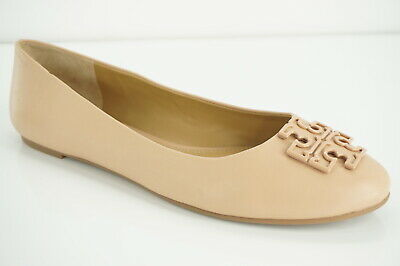 a8e42387f Tory Burch Melinda Nude Leather Ballet Flats Stacked T logo SZ 11 reva  plaque
