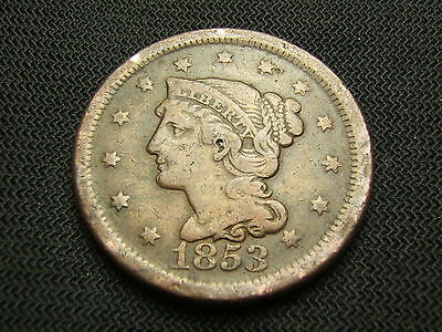 1853 Braided Hair Large cent each additional coin ships  for free !!!!!!!