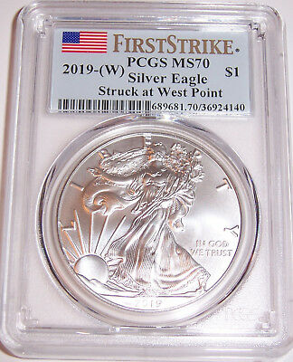 2019-(W) $1 PCGS MS70 First Strike Struck at West Point Silver American Eagle!!!