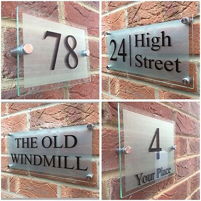 ba902c6244f1 Modern House Sign Plaque Door Number Street Glass Effect Acrylic Silver Name