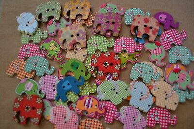 50 BULK ELEPHANT Buttons Scrapbooking Embellishment DIY Jewellery Mixed Design