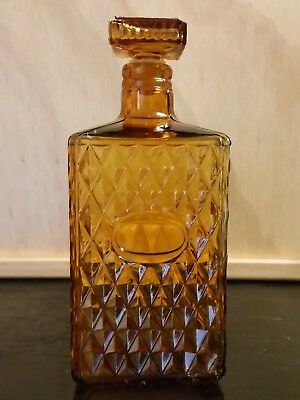 Vintage Amber Glass Decanter: Diamond Pattern