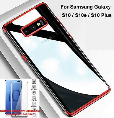 For Samsung Galaxy S10 + S10e TPU Case Cover + Tempered Glass Screen Protector