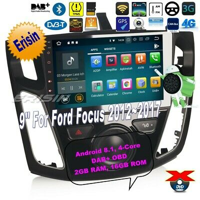"""Ford Car Radio Stereo Android 8.1 DAB+Focus 2012-2017 Navi TPMS 4G DTV BT 9""""3895"""