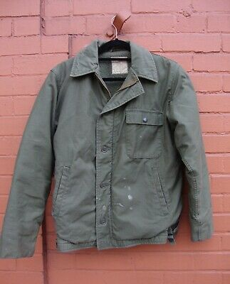 e5b51e7c9e4 VINTAGE USN NAVY COLD WEATHER PERMEABLE sherpa lined deck Jacket XL ...