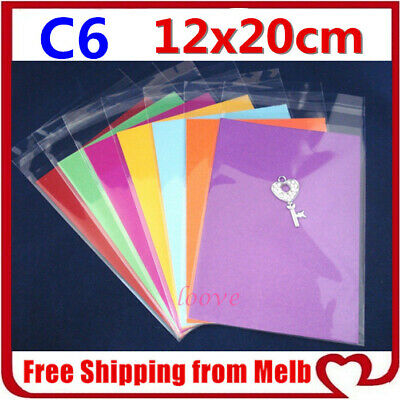 200 Clear Cello Cardmaking Adhesive Sleeves Bags C6 120 x 170 mm Cards 12 x17 cm