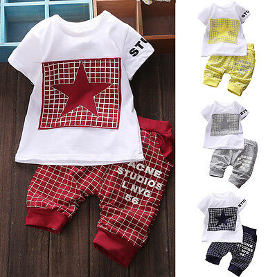 Newborn Infant Toddler Kid Boys Baby Outfits Set T Shirt Tops+Pants Clothes UK