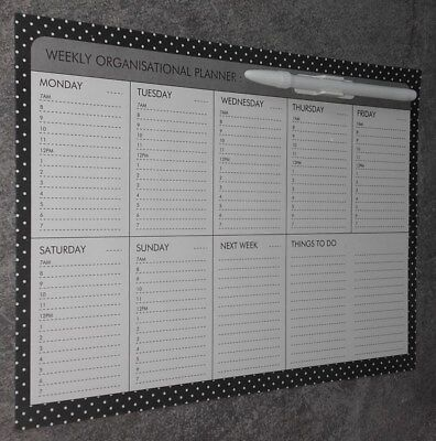 "WEEKLY ""PLANNER"".- FULLY MAGNETIC-WRITE & WIPE SURFACE with PEN & CliP. ITEM 3O"
