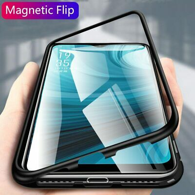 F Oppo AX7 AX5 AX5s Magnet Aluminum Metal Bumper Tempered Glass Back Cover Case