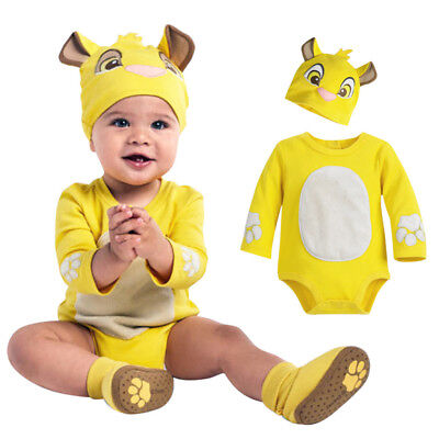Newborn Toddler Baby Boy Girl Cartoon Embroidery Romper Jumpsuit Hat Outfits 9