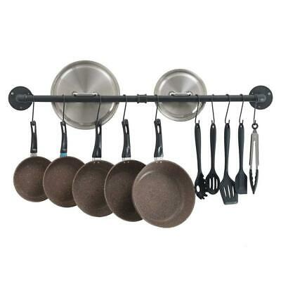 Pots Pans Hanging Rack Kitchen Storage Organiser Wall Mounted Utensil Pot Rail