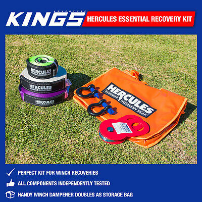 4WD Nylon Recovery Kit Essential 4x4 Pack Off Road Snatch Strap Kings
