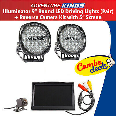 LED Driving Lights Offroad Work 4x4 Spot Work Round+Car Reverse Camera Kit  LCD