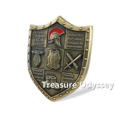 Armor of GOD Ephesians 6:13 Challenge Coin Shield Badge Commemorative Gift
