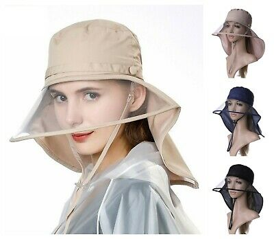 452c36782607a Waterproof Women Rain Hats Transparent Brim Visor Neck Flap Ladies Bicycle  Caps