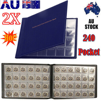2X 240 Coin Holder Collection Storage Collecting Money Penny Pockets Album Books